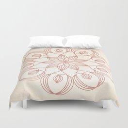 Mandala Floweret Rose Gold on Cream Duvet Cover
