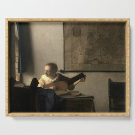 Vermeer,Woman with a Lute,Mujer con laúd, De luitspeelster Serving Tray