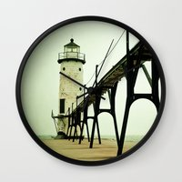 clouds Wall Clocks featuring Manistee Light by Olivia Joy StClaire