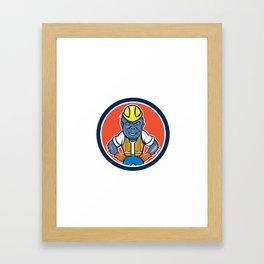 Angry Gorilla Construction Worker Circle Cartoon Framed Art Print