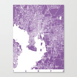 Tampa map florida lilac Canvas Print