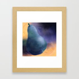teal pear Framed Art Print