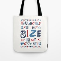 font Tote Bags featuring Font Menu by Word Quirk