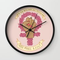 kendrawcandraw Wall Clocks featuring Femme Is Not Fragile by kendrawcandraw