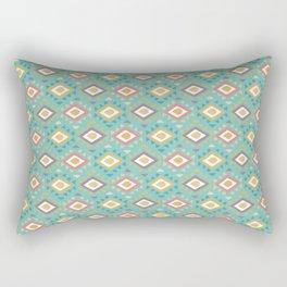 Vintage geometrical teal yellow orange green triangles tribal pattern Rectangular Pillow