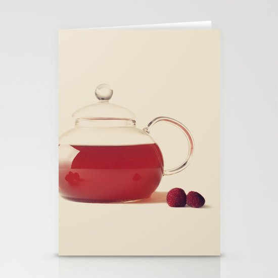 Raspberry Tea (Retro and Vintage Still Life Photography) Stationery Cards