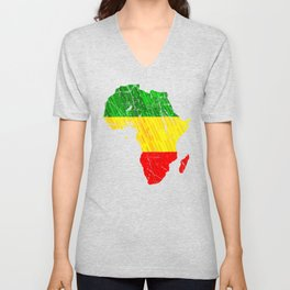 Africa Map Reggae Rasta design Green Yellow Red Africa pride Unisex V-Neck
