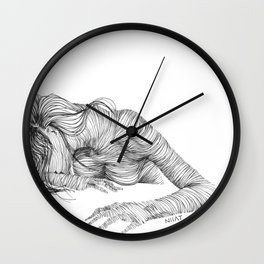 line drawing of a nude model Wall Clock