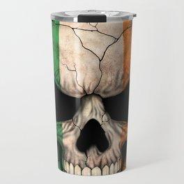 Dark Skull with Flag of Ireland Travel Mug