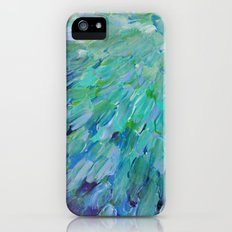 SEA SCALES - Beautiful Ocean Theme Peacock Feathers Mermaid Fins Waves Blue Teal Color Abstract Slim Case iPhone (5, 5s)