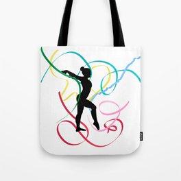 Ribbon dancer on white Tote Bag