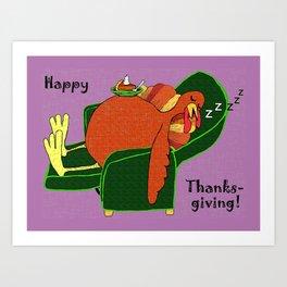 Sleeping Turkey with Pumpkin Pie Art Print