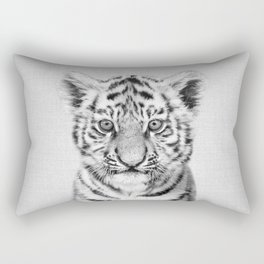 Baby Tiger - Black & White Rectangular Pillow