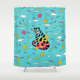 mint tiger Shower Curtain