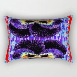 Red Western Style Double Purple & Gold Pansy Rectangular Pillow