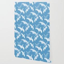 White Birds Against The Blue Sky #decor #society6 #homedecor Wallpaper