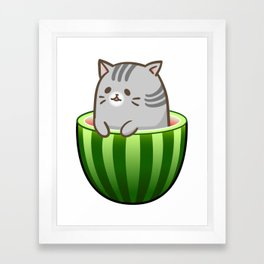 Melon Cat Framed Art Print