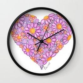 Purple Daisy Heart Wall Clock