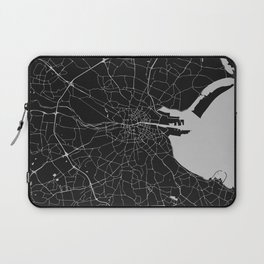 Black on Light Gray Dublin Street Map Laptop Sleeve