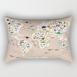 Cartoon animal world map, back to school. Animals from all over the world rosybrown background Rectangular Pillow