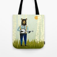 banjo Tote Bags featuring Bear's Bourree - Bear Playing Banjo by Prelude Posters