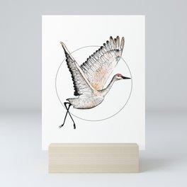 Flying Sandhill Crane Illustration / Crane Bird Drawing / Flying Crane Mini Art Print