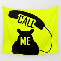 telephone Wall Tapestries featuring Cool Black Call me Vintage Retro telephone by PLdesign