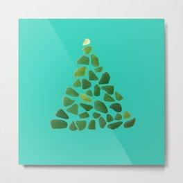 Green Sea Glass Tree on Turquoise #seaglass #Christmas Metal Print