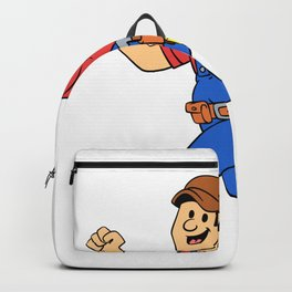 Happy running handyman cartoon illustration Backpack