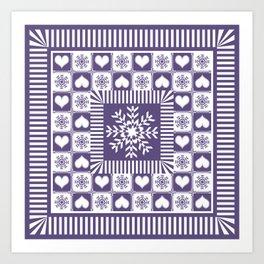 Purple Hearts and Snowflakes Ski Season Art Print