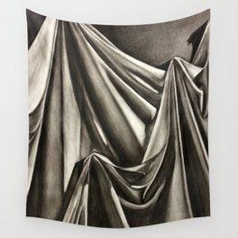 Draped cloth, charcoal drawing Wall Tapestry