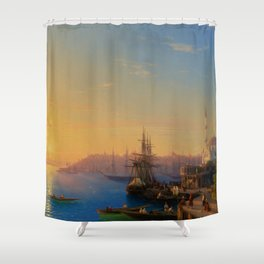 View of Constantinople and the Bosphorus Landscape Masterpiece by Ivan Aivazovsky Shower Curtain