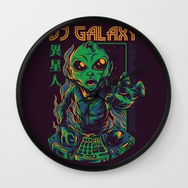 Dj Galaxy Illustration Wall Clock