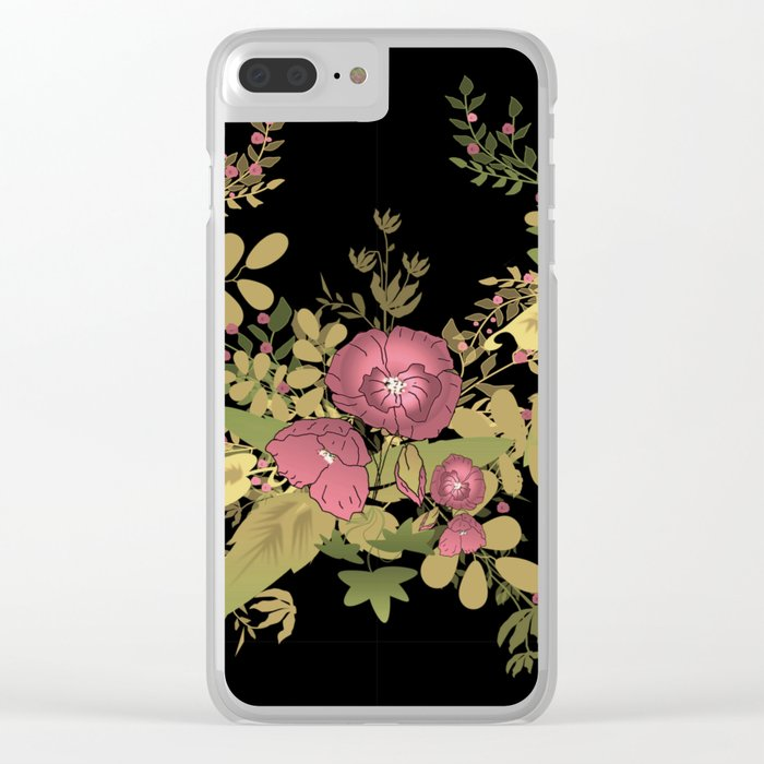 Colorful floral pattern on a black background . Clear iPhone Case