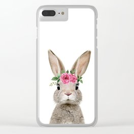 Baby Rabbit with Flower Crown Clear iPhone Case