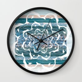 white dolphins' gyre Wall Clock