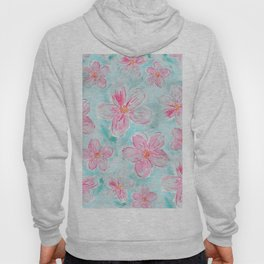 Hand painted teal fuchsia watercolor floral Hoody
