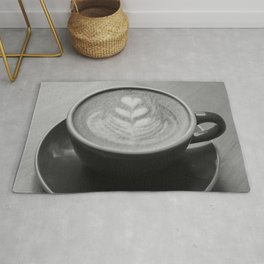 Cafe Heart - Black and White Rug