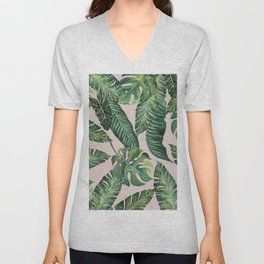Jungle Leaves, Banana, Monstera Pink #society6 Unisex V-Neck