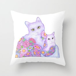 Bart and Clay - A Portrait of Two Cats  Throw Pillow