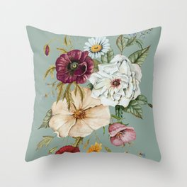 Colorful Wildflower Bouquet on Blue Throw Pillow