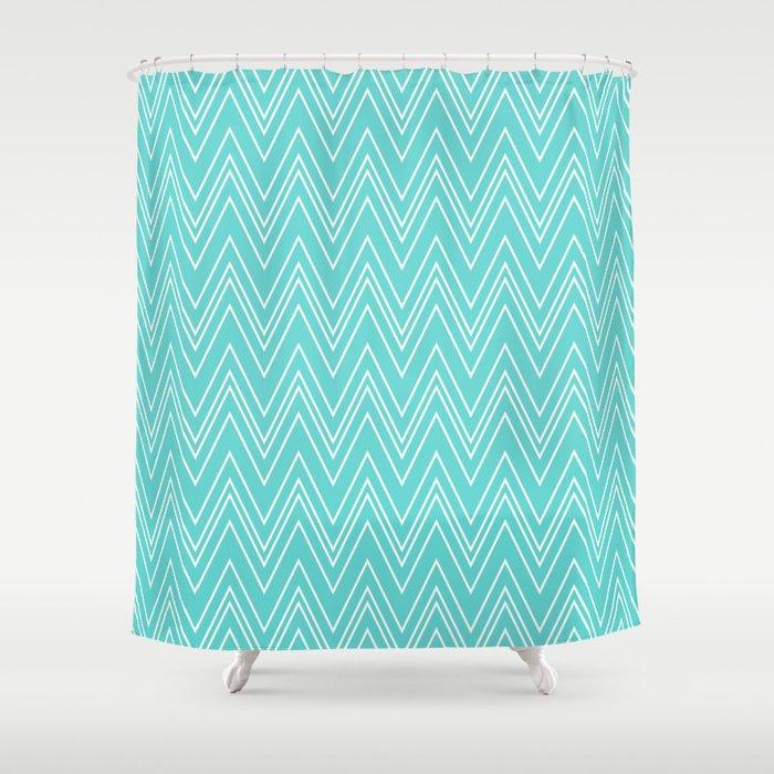 Aqua Skinny Chevron Shower Curtain