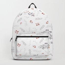 Modern gray orange coral watercolor floral berries Backpack