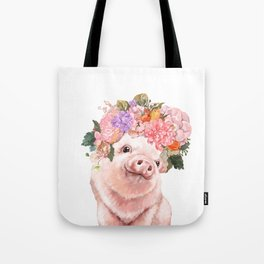 Lovely Baby Pig with Flowers Crown Tote Bag