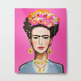 Pink Glow Frida Metal Print