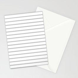 Horizontal Light Grey Stripes Pattern Stationery Cards