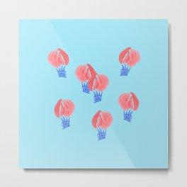 Air Balloons on Light Blue Metal Print