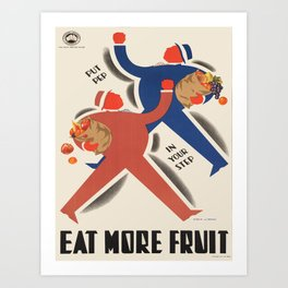 Vintage poster - Eat more fruit Art Print