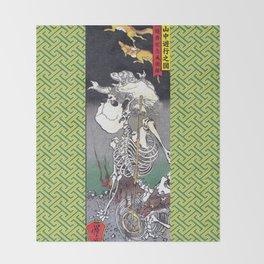 Green Kyosai Skeleton Kitsune Yokai Throw Blanket