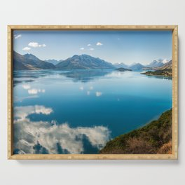 Breathtaking View of Lake Wakatipu in New Zealand Serving Tray